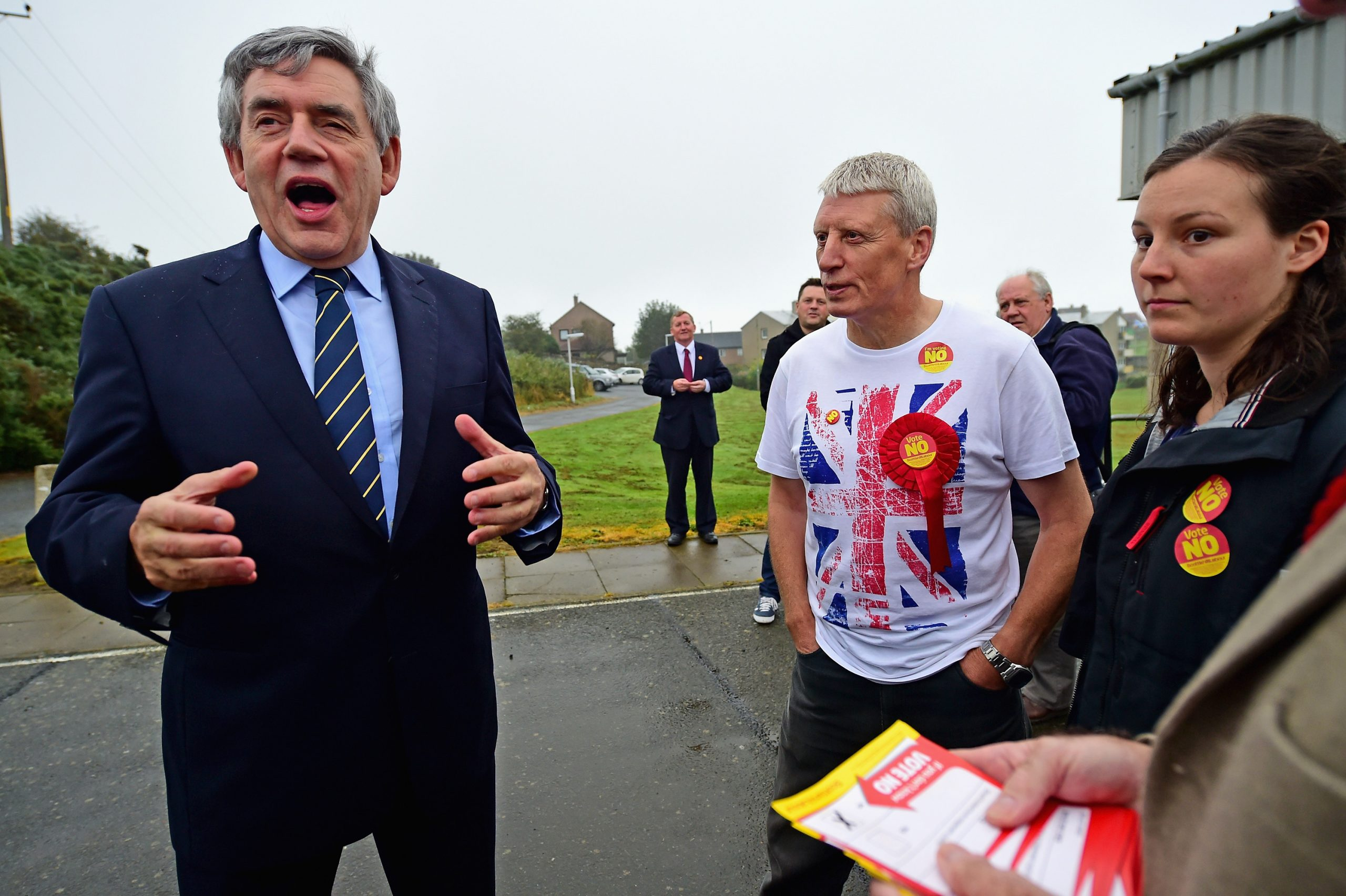 Former British Prime Minister Gordon Brown visits a polling station at North Queensferry Community Center in North Queensferry, Scotland.