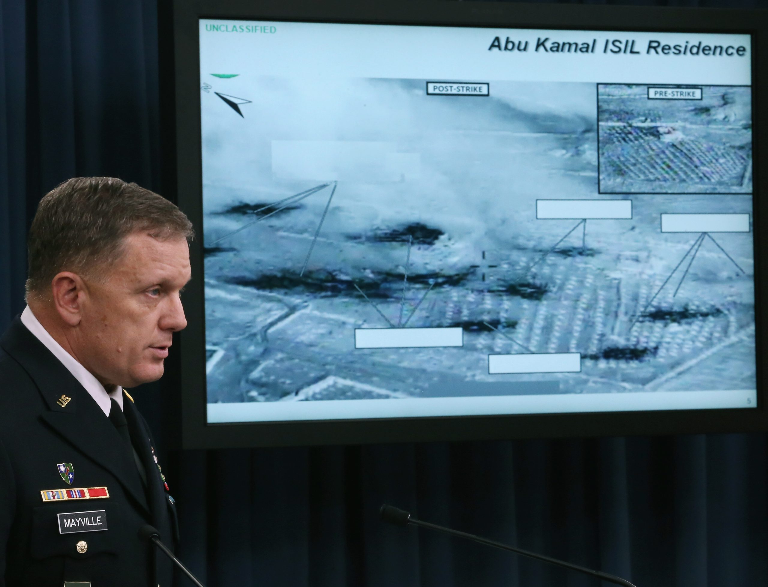 Lt. Gen. William C. Mayville Jr. speaks about the U.S. and Arab air strikes in Syria against the Islamic State in Iraq and Syria (ISIS).  (Photo by Mark Wilson/Getty Images)
