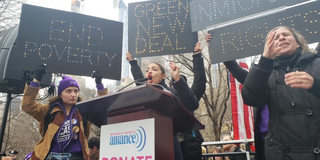 AOC in Columbus Circle Protest