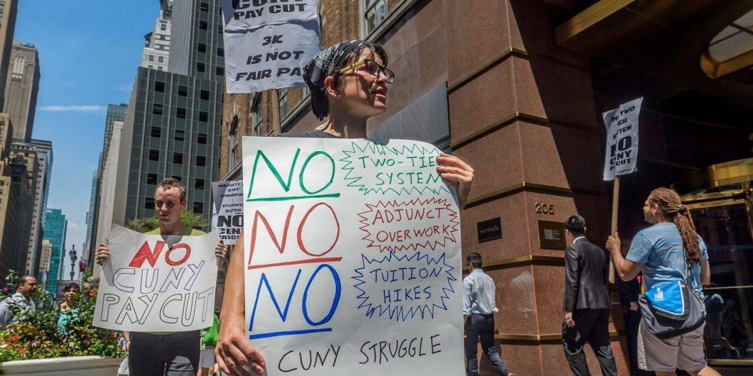 New York, United States. 28th July, 2016. CUNY staff members are protesting the exploitation of adjunct faculty by CUNY, as they are denied office hours and equal pay for equal work, and often prevented from even working enough classes to pay the bills wh
