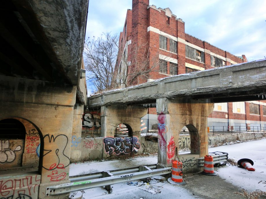 Urban Detroit, Michigan setting with crumbling architecture and filth – landscape color photo