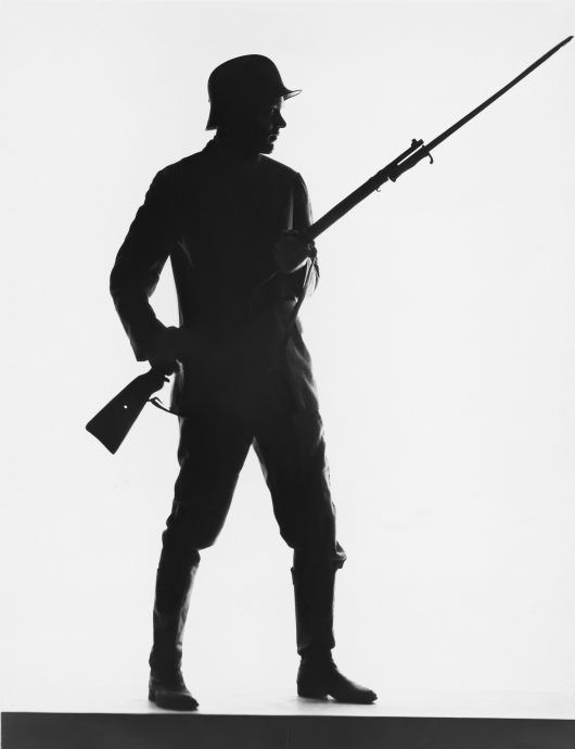 Silhouette of foot soldier, circa World War I