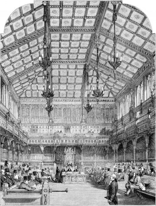 Interior view of the House of Commons, vintage engraving.