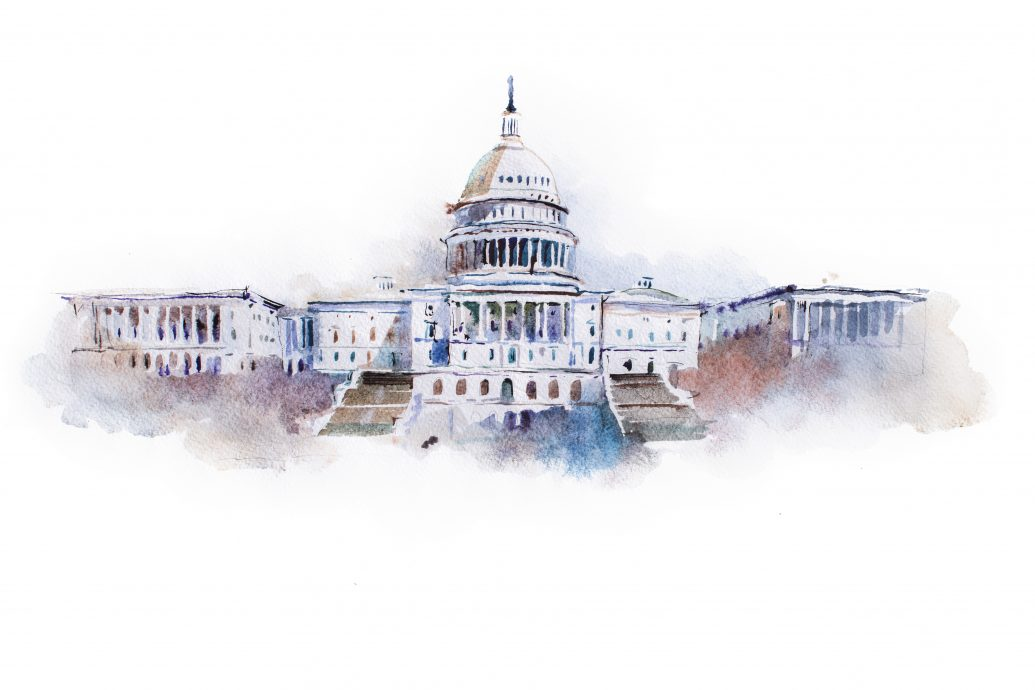 watercolor drawing of the white house in Washington dc