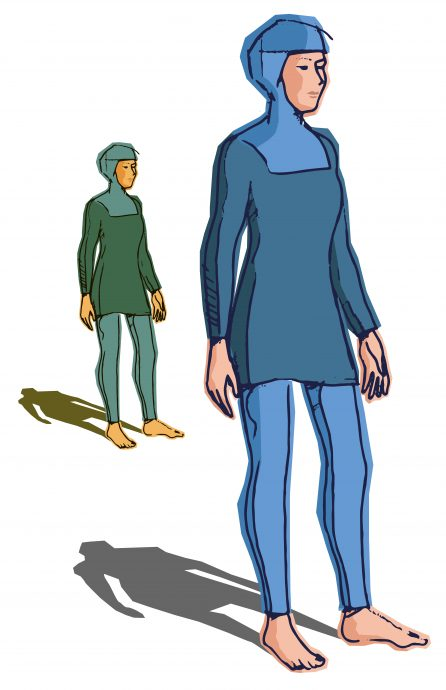 Illustration (vector) of islamic swimsuit on white background