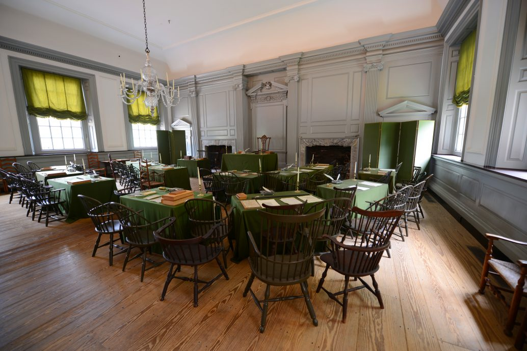 Assembly Room in Independence Hall in old town Philadelphia, Pennsylvania, USA. Both the Declaration of Independence and Constitution are signed in this room.
