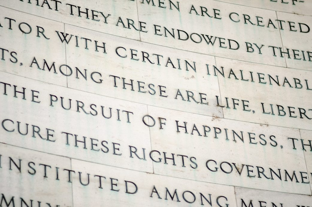 Inscription in the Jefferson Memorial in Washington DC of inalienable rights from the US Declaration of Independence