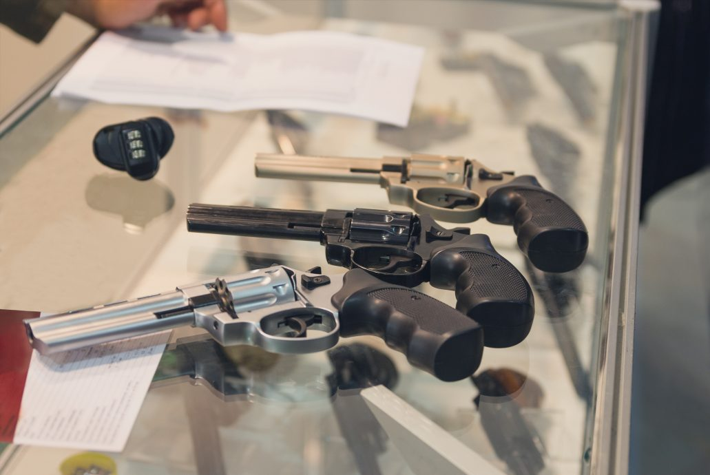 Revolvers on the counter in the gun shop. Weapon