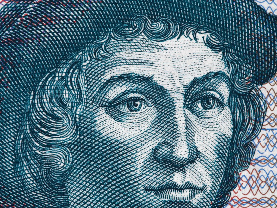 Christopher Columbus (1451 – 1506) portrait on Salvador 5 Colones (1997) banknote extreme macro. Great explorer, navigator, colonizer and discoverer of America.