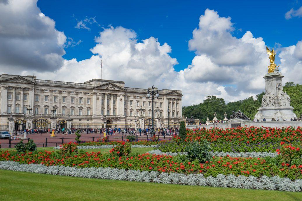 Buckingham Palace with beautiful blue sky, UK