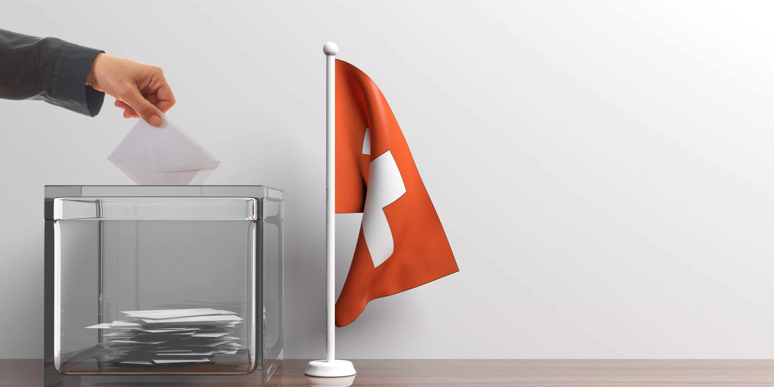 Ballot box and a small Switzerland flag. 3d illustration