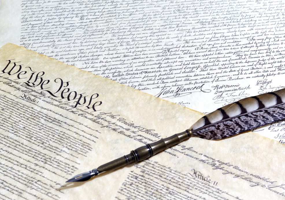 US Constitution Historical Documents with Quill Pen