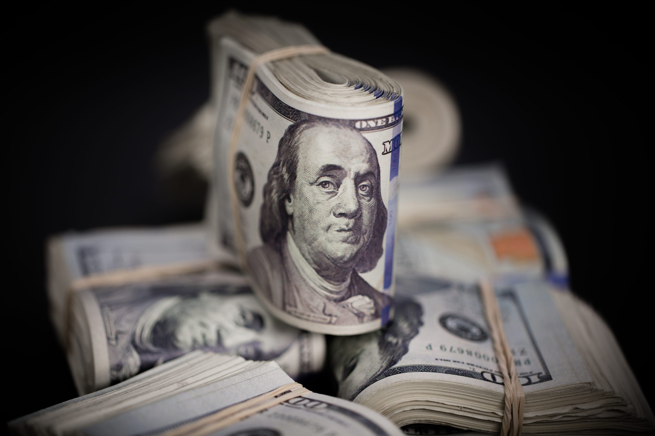 $100 dollar bills fold wad of prop
