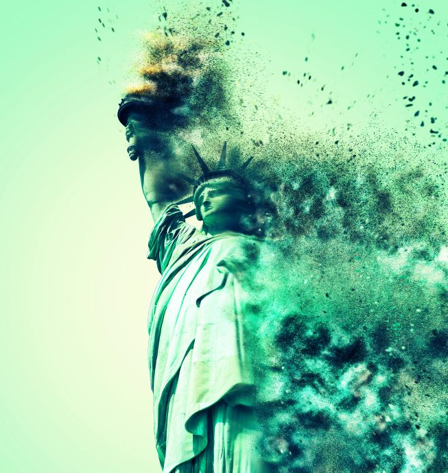 Conceptual image of Statue of Liberty crumbling