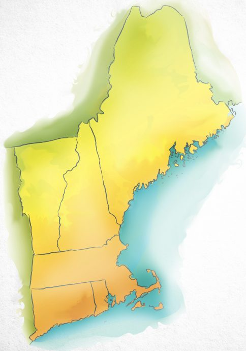 Watercolor map of New England USA