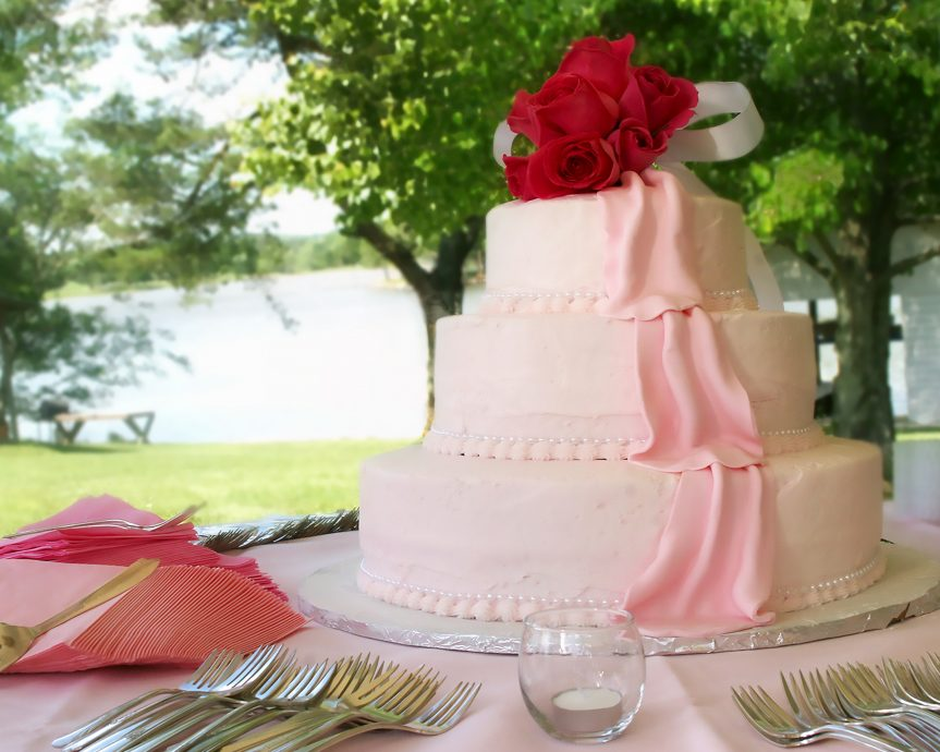 Wedding Cake with Lake in Background