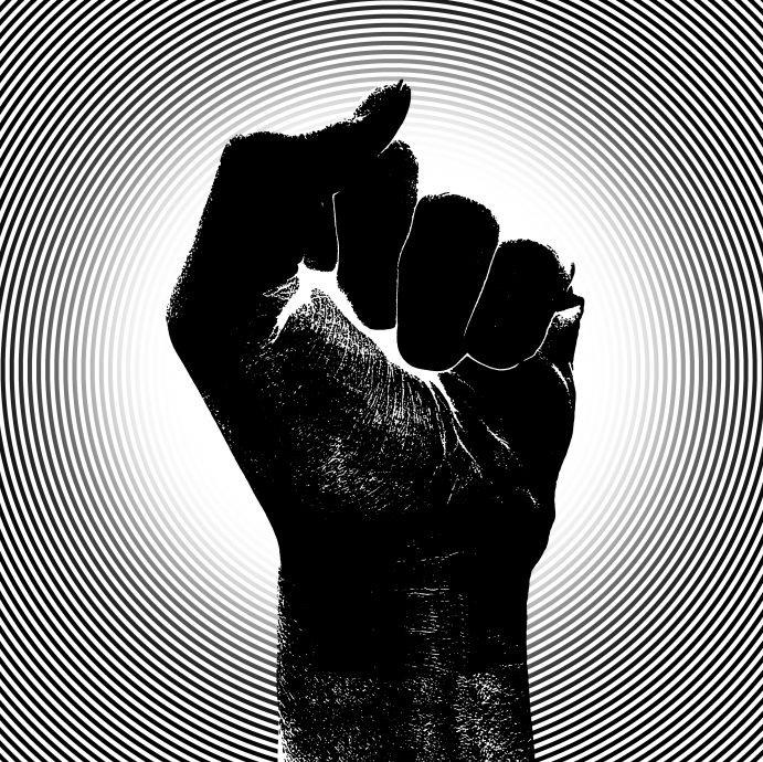 Raising Fist with Barcode