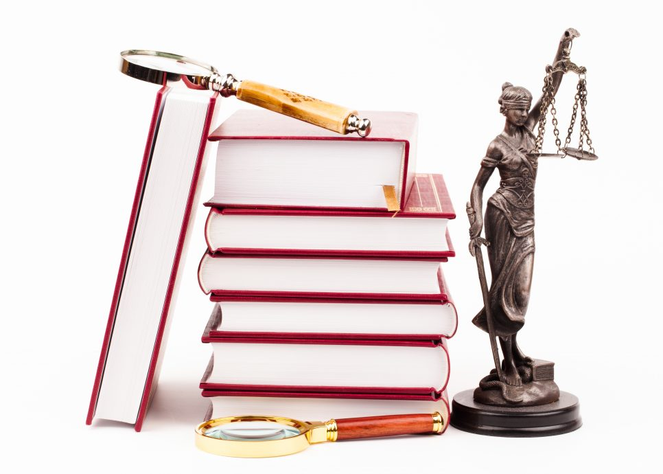 law book, money , magnifying glass and lady of justice