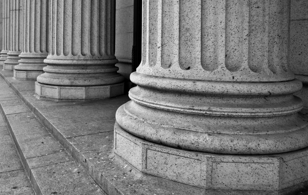 Architectural Columns on the Portico of a Federal Building in Ne