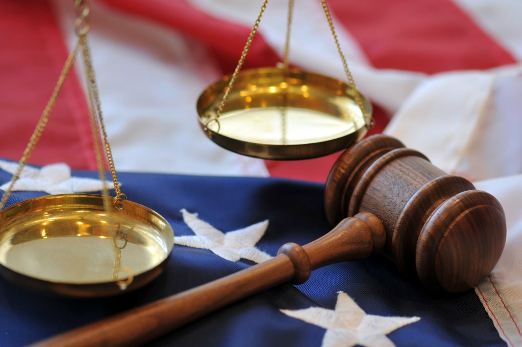 Gavel and flag – American justice
