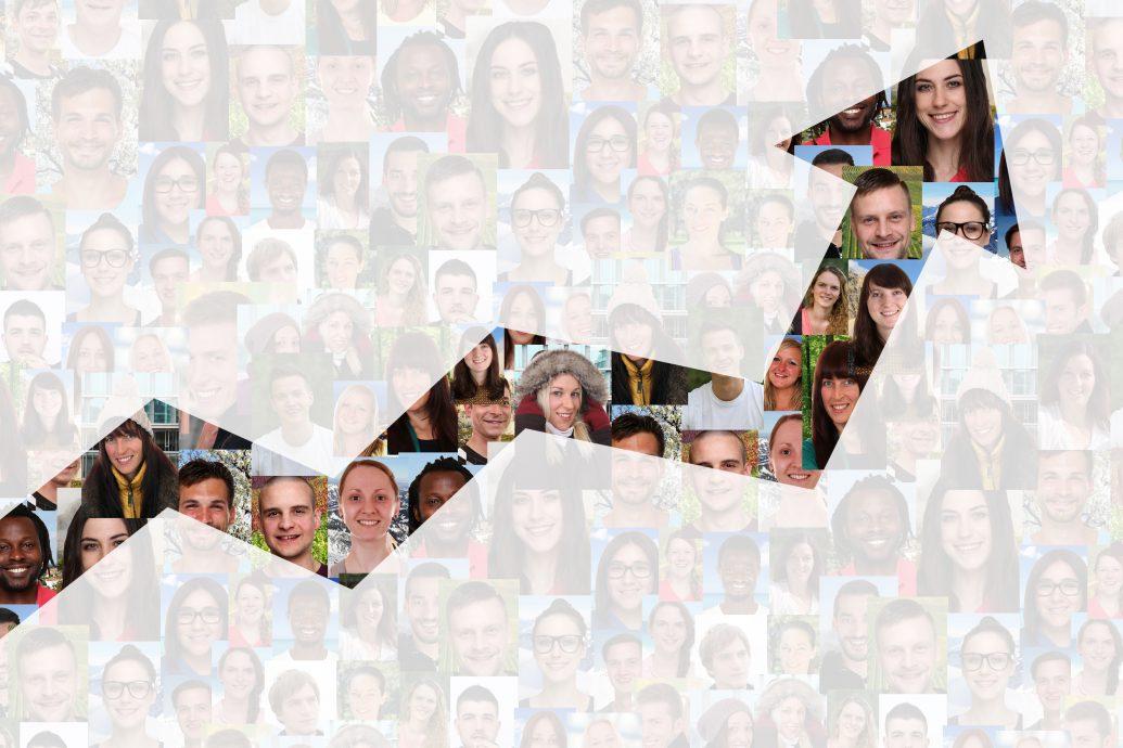 Wachstum mit Erfolg oder erfolgreich Strategie im Business Menschen