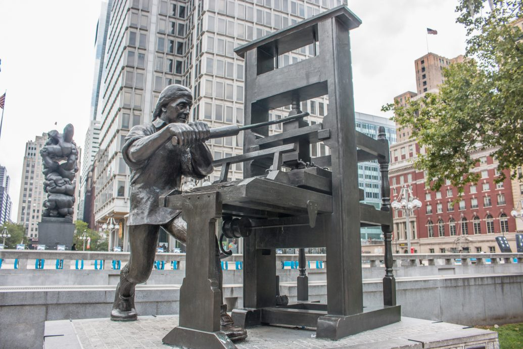 Statue of Benjamin Franklin Craftsman Philadelphia Pennsylvania USA