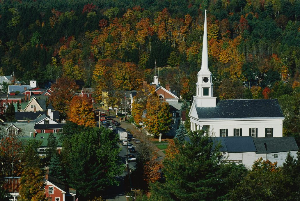 New England Church with Scenery