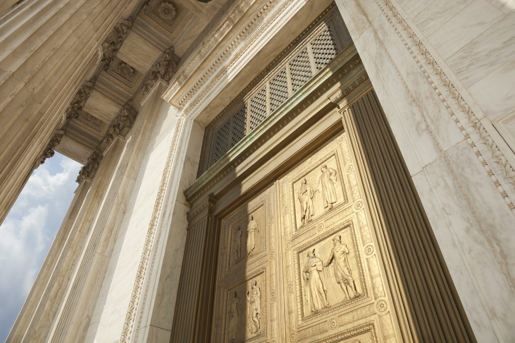 Doors of the Supreme Court building in Washington DC