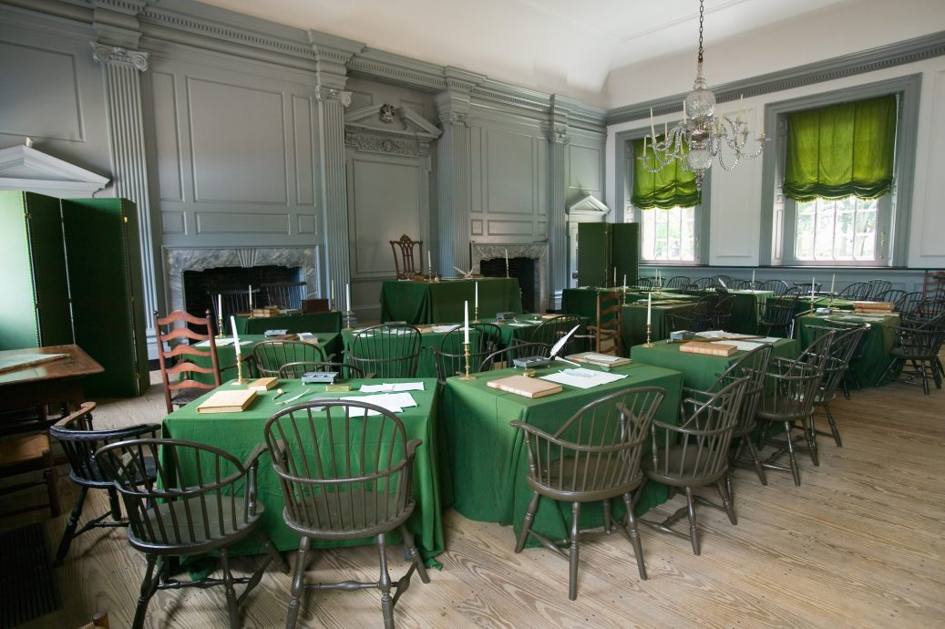 The Assembly Room where Declaration of Independence and U.S. Constitution were signed in Independence Hall, Philadelphia, Pennsylvania