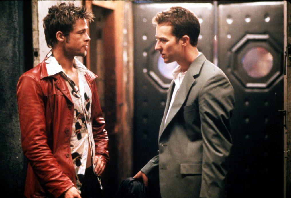 FIGHT CLUB  1999 TCF/FOX 2000 film with Brad Pitt at left