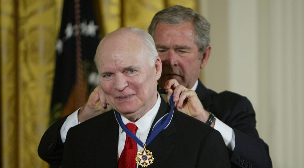 President George Bush awarding C-Span founder Brian Lamb with the Presidential Medal of Freedom  The Presidential Medal of