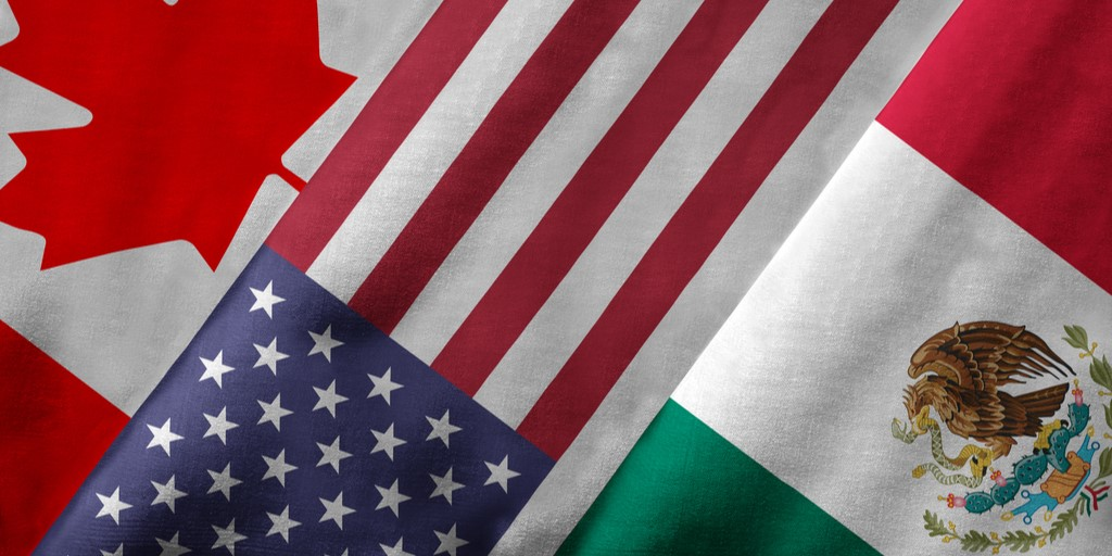 Canada United States Mexico flags NAFTA