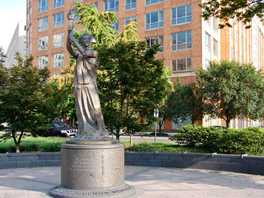 "Victims of Communism Memorial in Washington DC. This is a recreation by Thomas Marsh of the statue ""Goddess of Democracy"" that was the symbol of the protestors erected in Tianamen Square in 1989 and brutally destroyed by the PRC Communist government."