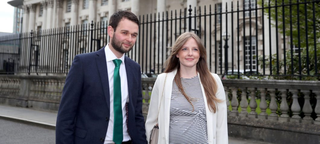 Daniel Mcarthur and his wife Amy, arrive for their Supreme Court hearing in Belfast.