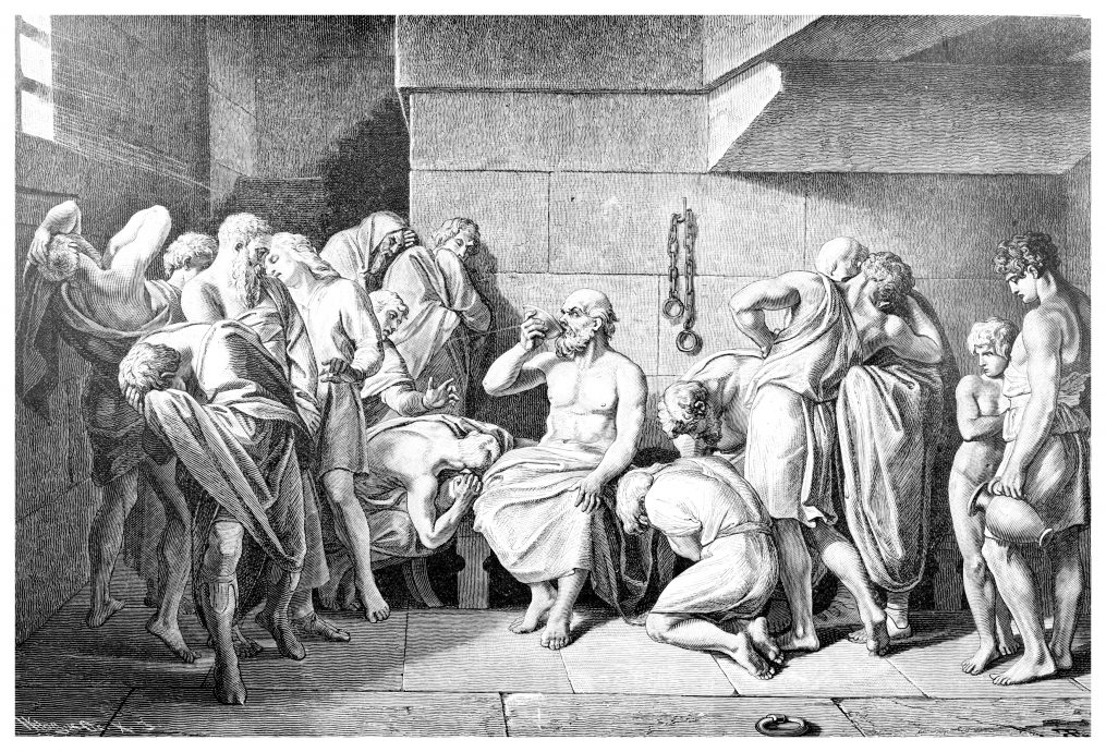Victorian engraving of the death of Socrates