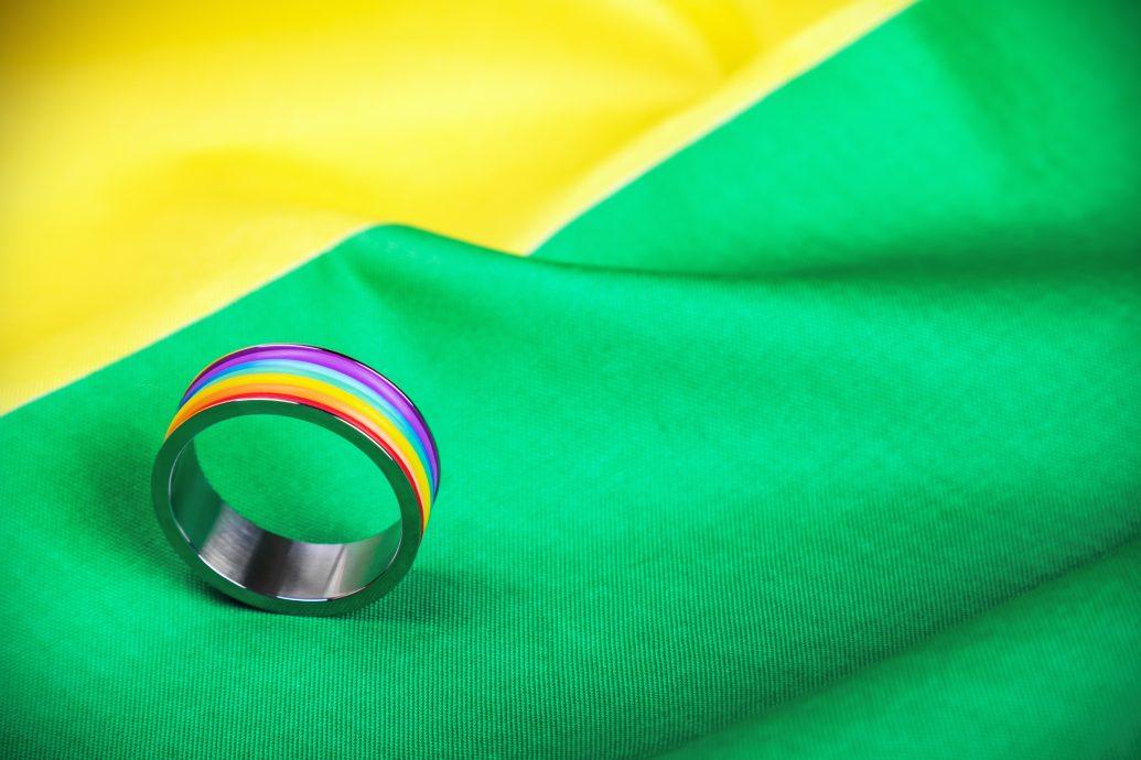 Ring rainbow gay community on the flag