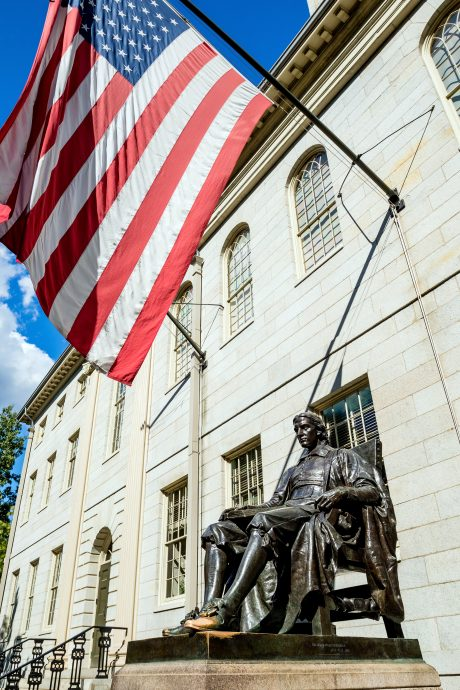John Harvard statue in Harvard University in Cambridge, MA