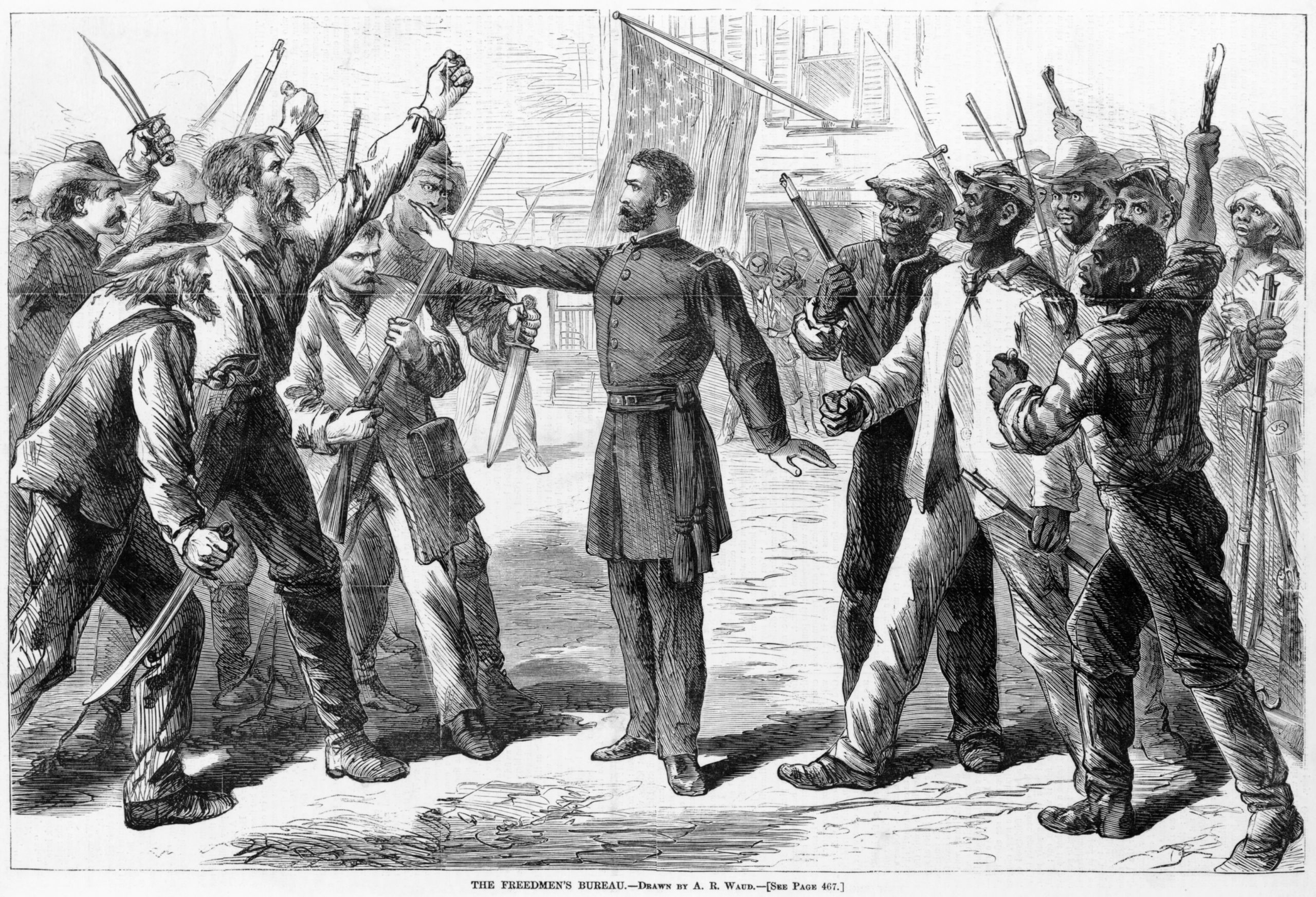 A Bureau agent stands between armed groups of Southern whites and Freedmen in this 1868 picture from Harper's Weekly.