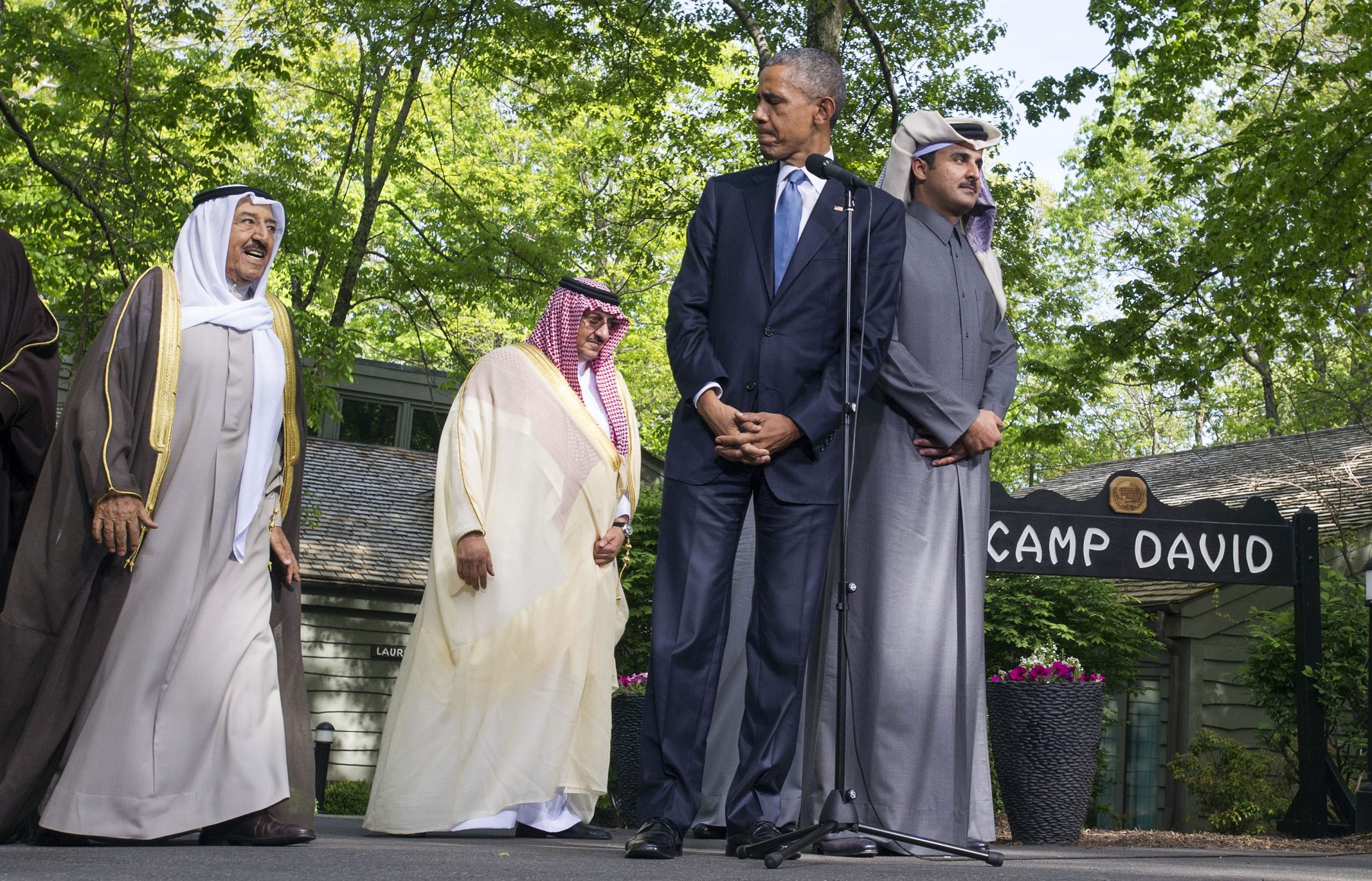 U.S. President Barack Obama waits to deliver remarks following the Gulf Cooperation Council-U.S. summit on May 14, 2015 at Camp David, Maryland.