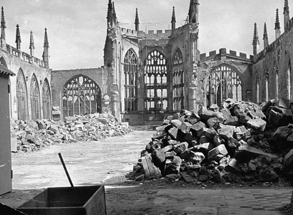 Ruins of Coventry Cathedral after bombin