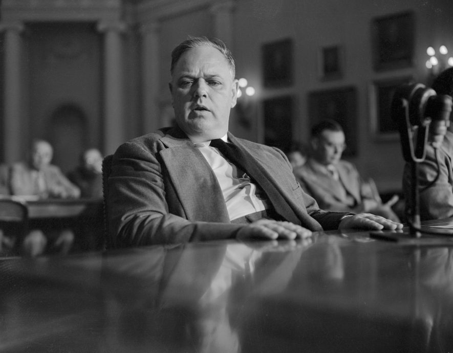 Whittaker Chambers Sitting in Committee Hearing