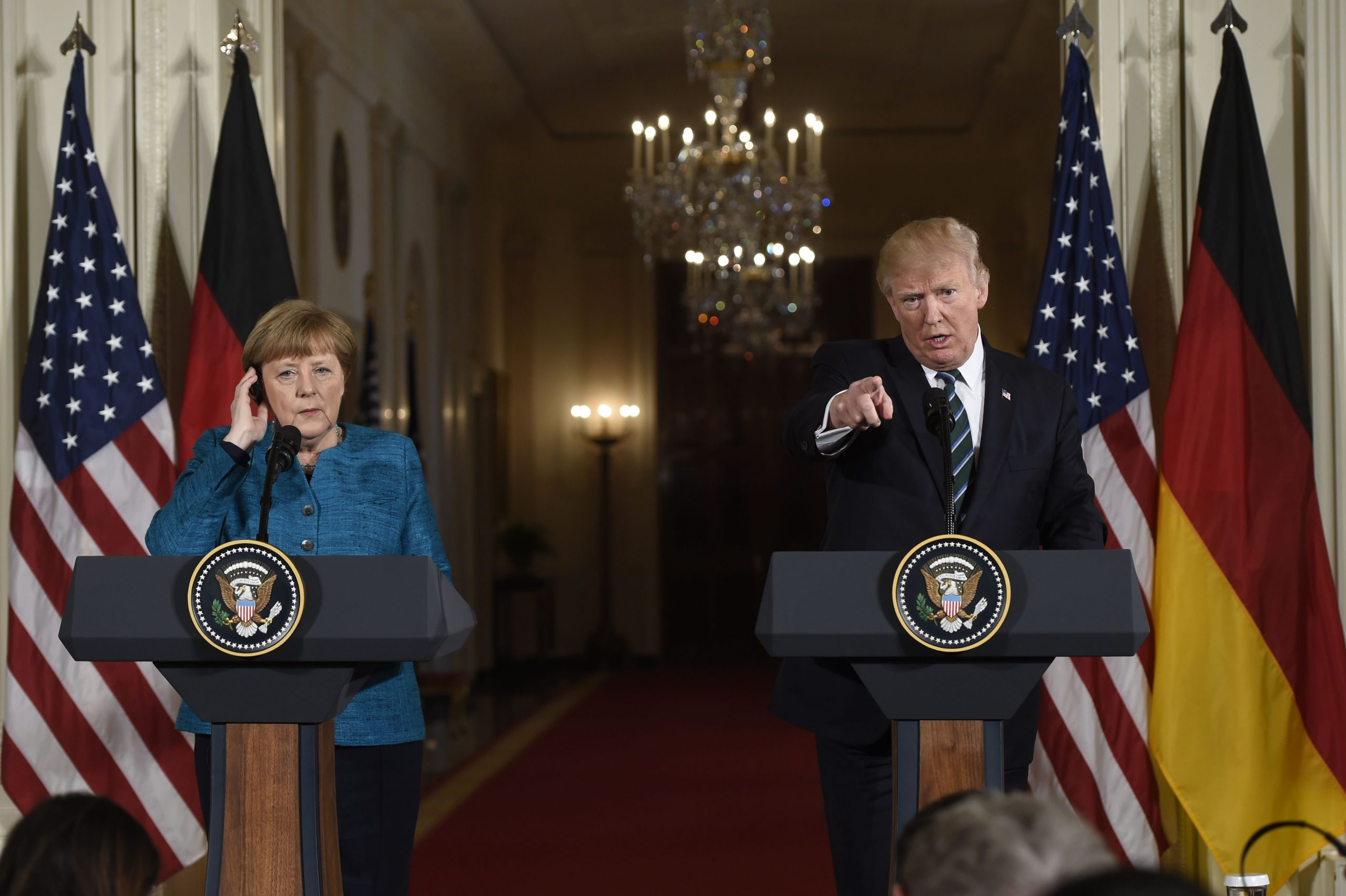 President Donald Trump and German Chancellor Angela Merkel hold a joint press conference in the East Room of the White House, March 17, 2017. (Saul Loeb/Getty Images)
