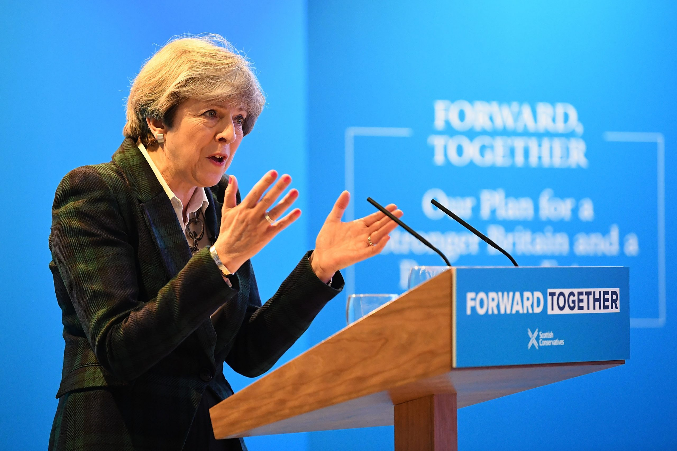 EDINBURGH, SCOTLAND - MAY 19:  Prime Minister Theresa May gives a speech at the launch of the Scottish manifesto in Edinburgh, Scotland. (Jeff Mitchell/Getty Images)