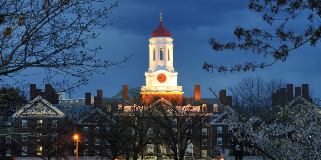Harvard at night