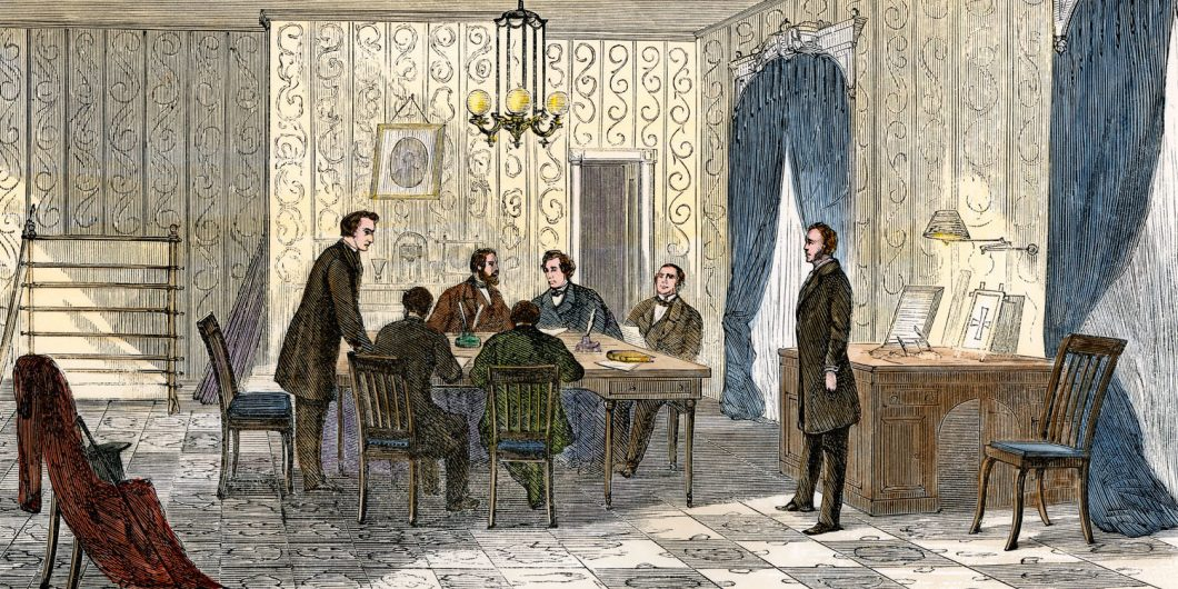 President Andrew Johnson consulting with his lawyers about impeachment, 1868. Hand-colored woodcut