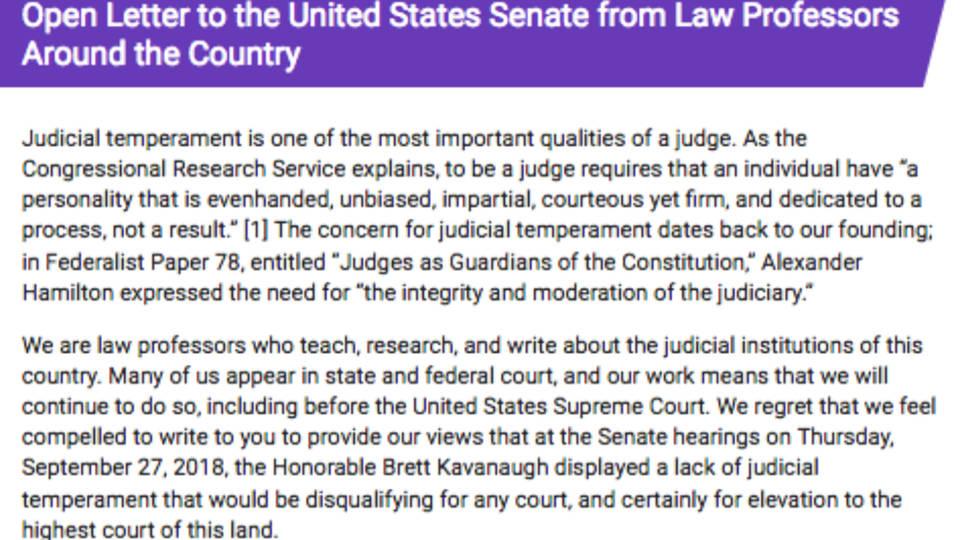 Law Professor Letter Against Kavanaugh