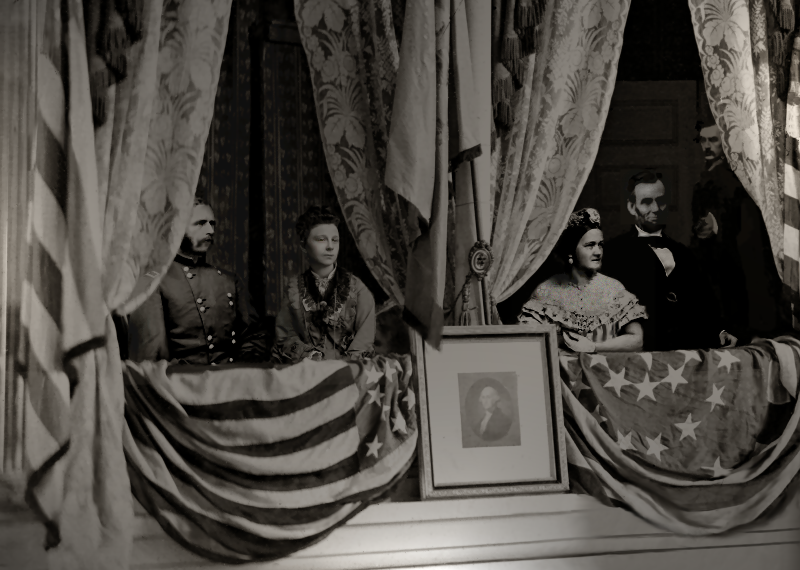 Depiction of the assassination of Abraham Lincoln. From left to right: Henry Rathbone, Clara Harris, Mary Todd Lincoln, Abraham Lincoln, and Booth.