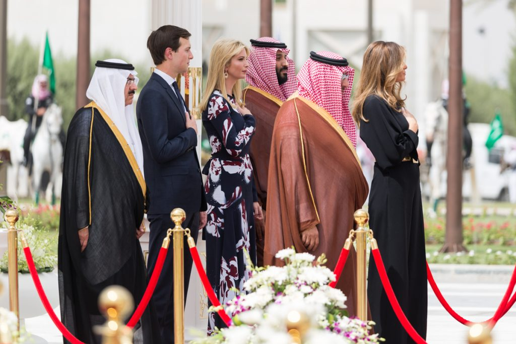 Crown Prince Muhammad bin Nayef and Deputy Crown Prince Mohammad bin Salman with Jared Kushner and Ivanka Trump, Riyadh, 20 May 2017.