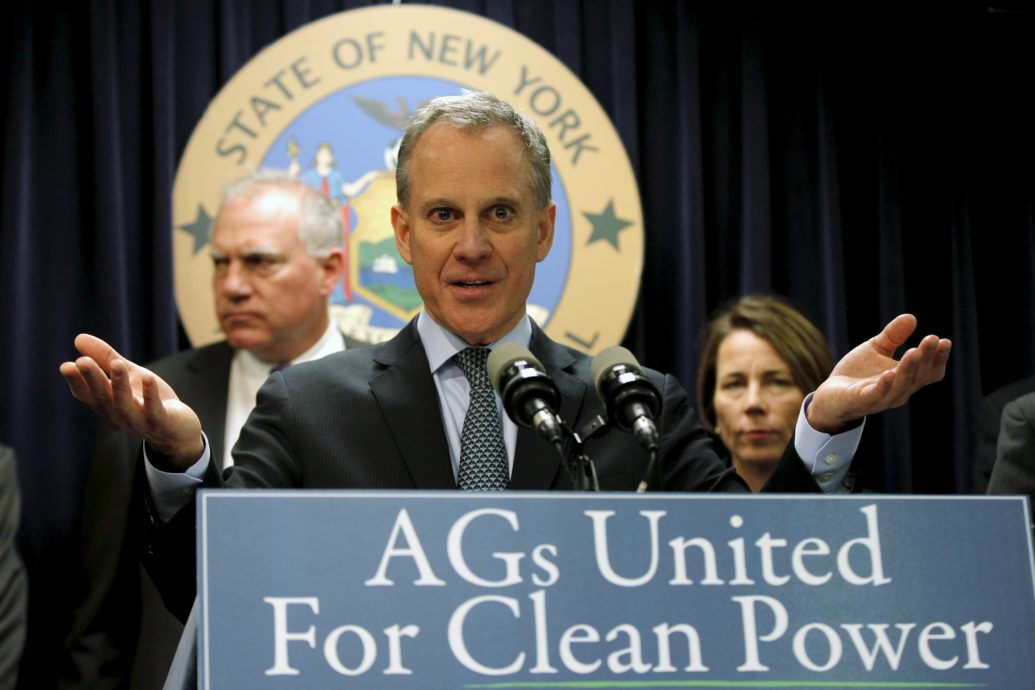 N.Y. Attorney General Eric Schneiderman speaks at a news conference in Manhattan with other state attorneys general to announce a state-based effort to combat climate change