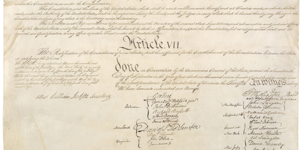 Signatures on US Constitution